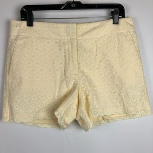 LOFT Shorts - LOFT Shorts Eyelet Butter Yellow Scalloped Hem